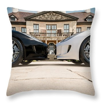 Jaguar F-type - Black And White Throw Pillow