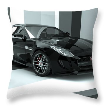 Jaguar F-type - Black Retro Throw Pillow