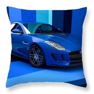 Jaguar F-type - Blue Retro Throw Pillow