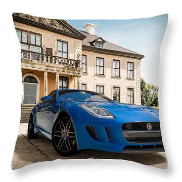 Jaguar F-type - Blue - Villa Throw Pillow