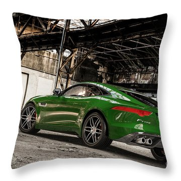 Jaguar F-type - British Racing Green - Rear View Throw Pillow