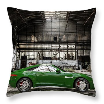 Jaguar F-type - British Racing Green - Side View Throw Pillow