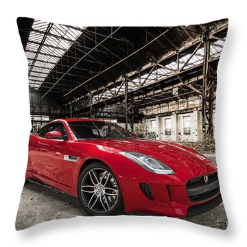 Jaguar F-type - Red - Front View Throw Pillow