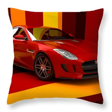 Jaguar F-type - Red Retro Throw Pillow