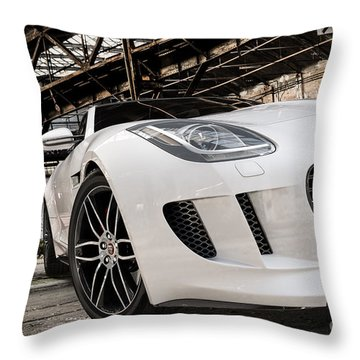 Jaguar F-type - White - Front Close-up Throw Pillow