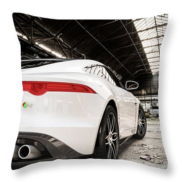 Jaguar F-type - White - Rear Close-up Throw Pillow