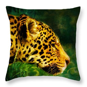 Jaguar In The Grass Throw Pillow