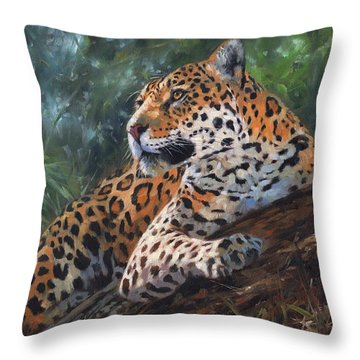 Jaguar In Tree Throw Pillow by David Stribbling