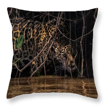 Jaguar In Vines Throw Pillow by Wade Aiken