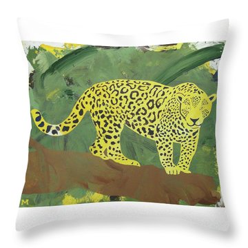 Throw Pillow featuring the painting Jaguar by Candace Shrope