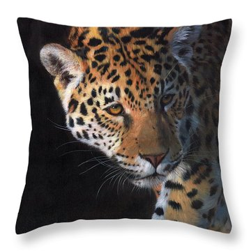 Jaguar Portrait Throw Pillow by David Stribbling