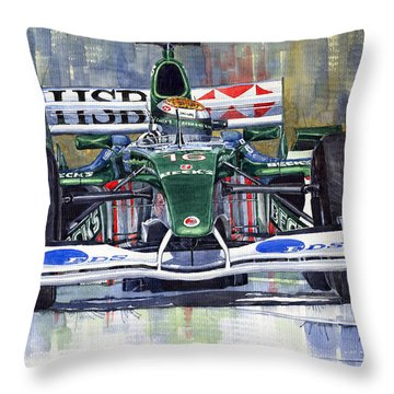 Jaguar R3 Cosworth F1 2002 Eddie Irvine Throw Pillow by Yuriy  Shevchuk