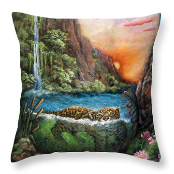 Jaguar Sunset  Throw Pillow by Retta Stephenson