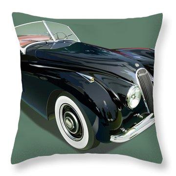 Jaguar Xk 120 Illustration Throw Pillow by Alain Jamar