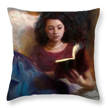 Jaidyn Reading A Book 1 - Portrait Of Young Woman - Girls Who Read - Books In Art Throw Pillow