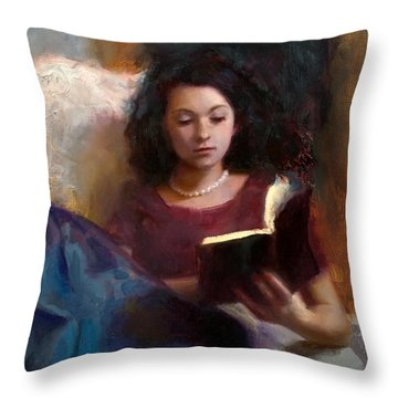 Throw Pillow featuring the painting Jaidyn Reading A Book 1 - Portrait Of Young Woman by Karen Whitworth