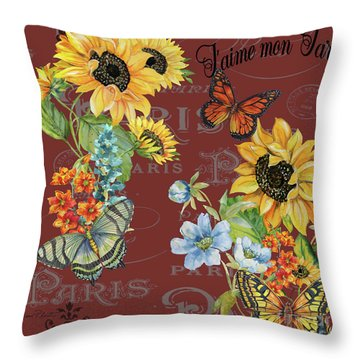 Throw Pillow featuring the painting Jaime Mon Jardin-jp3988 by Jean Plout
