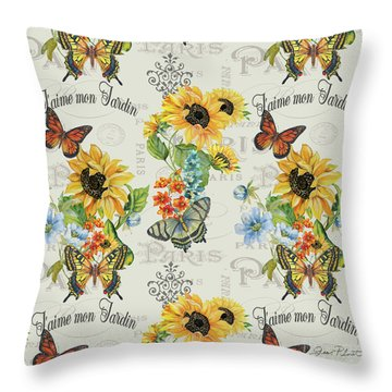 Throw Pillow featuring the painting Jaime Mon Jardin-jp3989 by Jean Plout