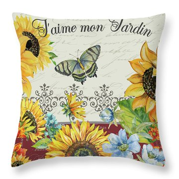 Throw Pillow featuring the painting Jaime Mon Jardin-jp3990 by Jean Plout
