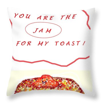 Throw Pillow featuring the drawing Jam For My Toast by Denise Fulmer