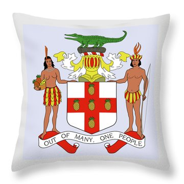 Throw Pillow featuring the drawing Jamaica Coat Of Arms by Movie Poster Prints