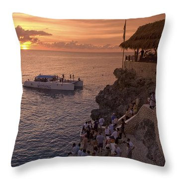 Throw Pillow featuring the photograph Jamaica Negril Ricks Cafe by Juergen Held