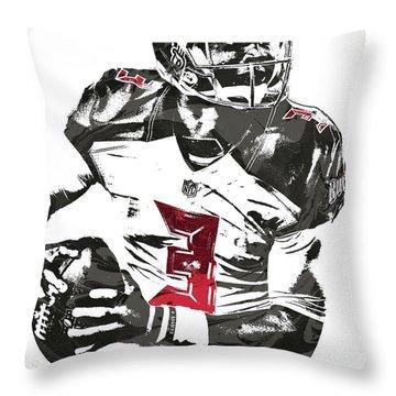 Throw Pillow featuring the mixed media Jameis Winston Tampa Bay Buccaneers Pixel Art by Joe Hamilton