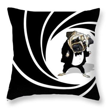 James Bond Pug Caricature Art Print Throw Pillow