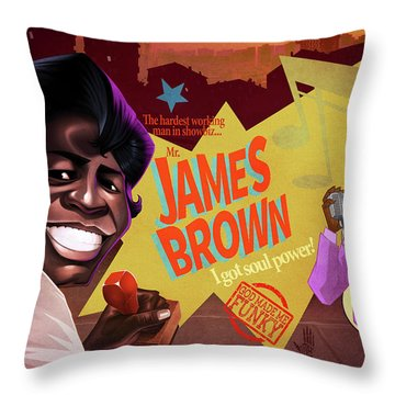 James Brown Throw Pillow