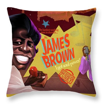 James Brown Throw Pillow by Nelson Dedos Garcia