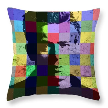 James Dean Actor Hollywood Pop Art Patchwork Portrait Pop Of Color Throw Pillow by Design Turnpike