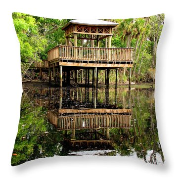 James E Grey Fishing Pier Throw Pillow