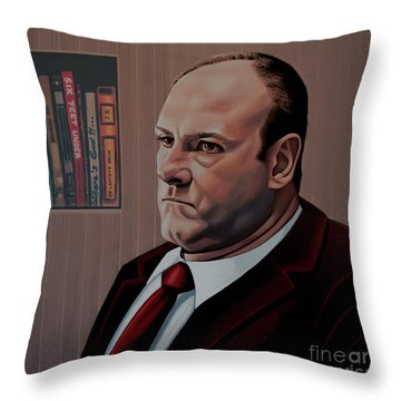 James Gandolfini Painting Throw Pillow by Paul Meijering