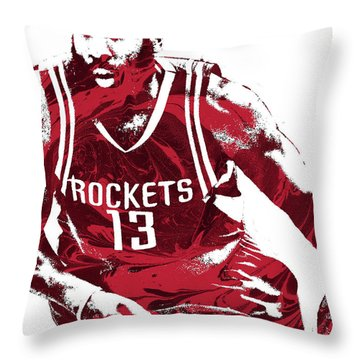 James Harden Houston Rockets Pixel Art 3 Throw Pillow