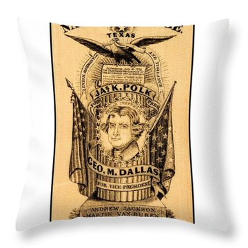 Throw Pillow featuring the drawing James K Polk And George M Dallas 1840s Texas Democratic Party Silk Ribbon by Peter Gumaer Ogden