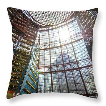 Throw Pillow featuring the photograph James R Thompson Center Interior II Chicago by Deborah Smolinske