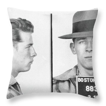 Throw Pillow featuring the mixed media James Whitey Bulger Mug Shot by Dan Sproul