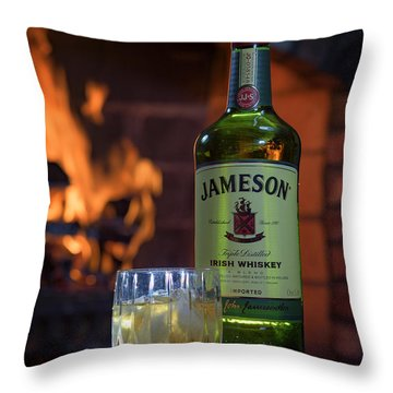 Jameson By The Fire Throw Pillow by Rick Berk