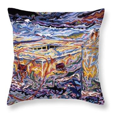 Jamestown Sea Construction Site Throw Pillow by Robert SORENSEN