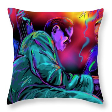 Throw Pillow featuring the painting Jamming With Oscar by DC Langer