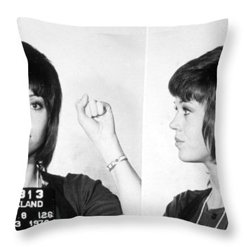 Jane Fonda Mug Shot Horizontal Throw Pillow by Tony Rubino