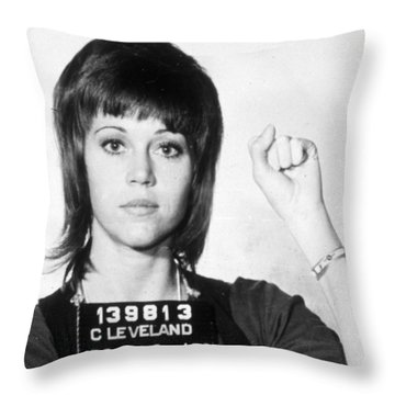 Jane Fonda Mug Shot Vertical Throw Pillow by Tony Rubino