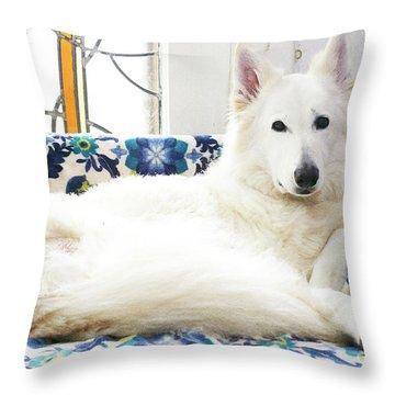 Jane In Her Favorite Spot Throw Pillow