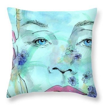 Jane In Spring Throw Pillow by P J Lewis