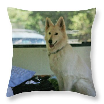 Jane Riding In The Bus Camping At Cape Lookout Throw Pillow