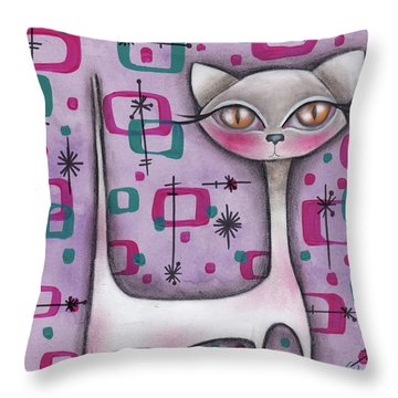 Janice Cat Throw Pillow by Abril Andrade Griffith