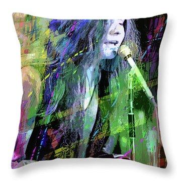 Janis Joplin Blue Throw Pillow