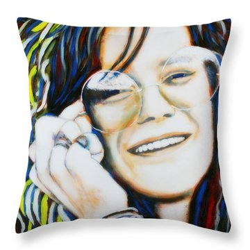 Janis Joplin Pop Art Portrait Throw Pillow