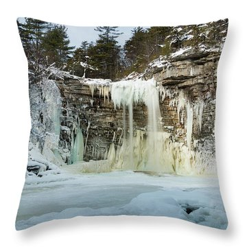 January Morning At Awosting Falls Throw Pillow