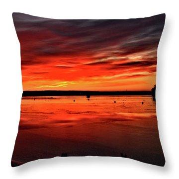 January Sunrise Onset Pier Throw Pillow